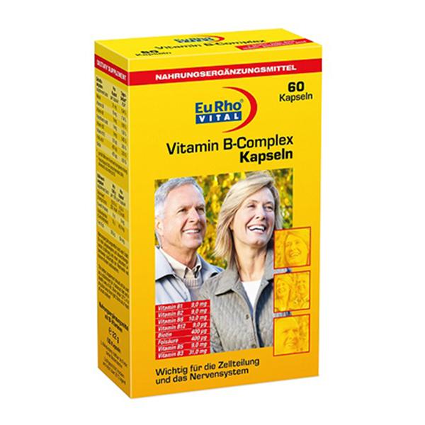 کپسول ویتامین ب کمپلکس یوروویتال-حاوی تمامی ویتامین های گروه B-کمک به حفظ سلامت و عملکرد سیستم عصبی و اعصاب بدن