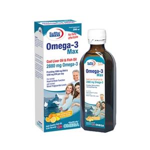 شربت امگا ۳ مکس یورو ویتال-حفظ سلامت و عملکرد طبیعی قلب، مغز و چشم، عملکرد طبیعی سیستم ایمنی و سلامت استخوان ها