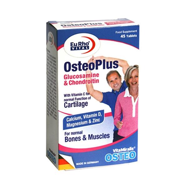قرص استئو پلاس یوروویتال-حاوی گلوکز آمین،کندروئیتین،زنجبیل،کلسیم-جهت حفظ سلامت استخوان ها و غضروف-جلوگیری از پوکی استخوان