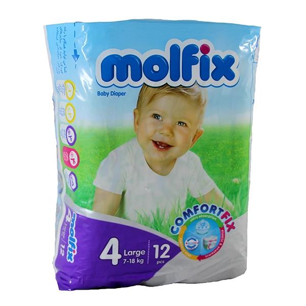 پوشک سایز ۴ کودکان ۷ تا ۱۸ کیلوگرم مولفیکس | Molfix 4Large Baby Diaper 12 pcs