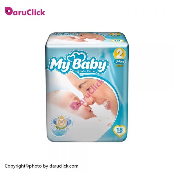پوشک سایز ۲ کودکان ۳ تا ۶ کیلو گرم مای بی بی | My Baby Size 2 Baby Diaper With Chamomile Extract 18 Pcs