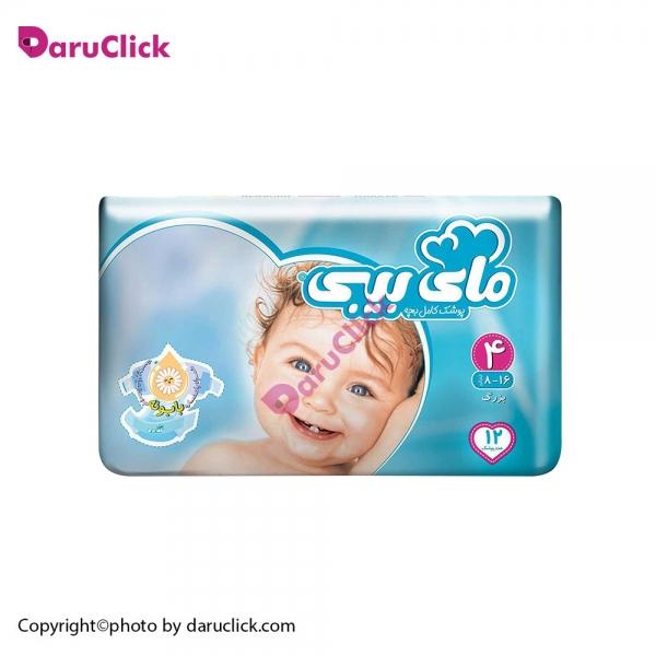 پوشک سایز ۴ کودکان ۸ تا ۱۶ کیلوگرم مای بی بی | My Baby Size 4 Baby Diaper With Chamomile Extract 12 Pcs