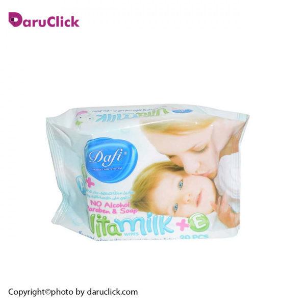 دستمال مرطوب کودک مدل ویتا میلک دافی