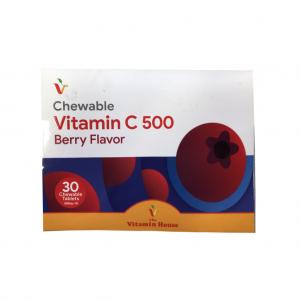 قرص جویدنی ویتامین C 500 میلی گرم با طعم انواع توت ویتامین هاوس