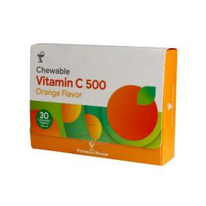 قرص جویدنی ویتامین C 500 میلی گرم با طعم پرتقال ویتامین هوس