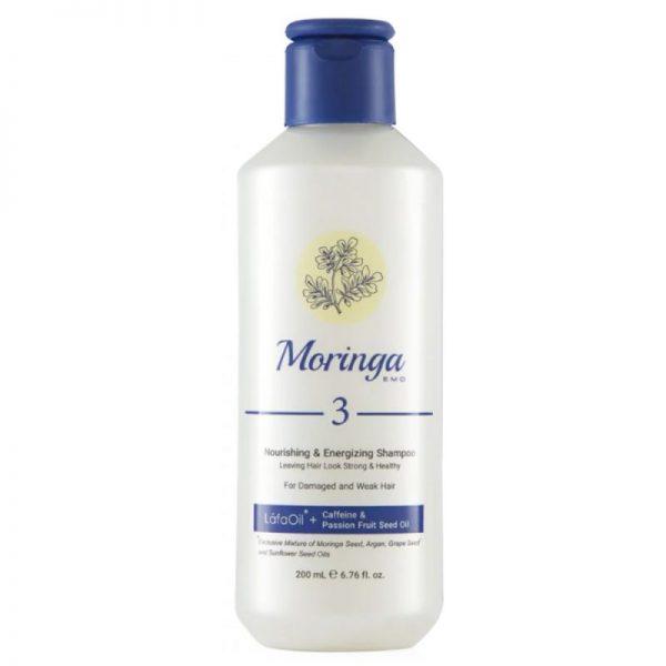شامپو مغذی و انرژیبخش مورینگا امو مناسب موهای آسیبدیده و ضعیف کد 3