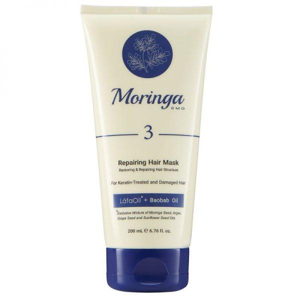 ماسک مو ترمیمکننده مورینگا امو مناسب موهای کراتینه و آسیبدیده کد 3