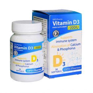 کپسول ژلاتینی ویتامین D3 1000 او پی دی فارما
